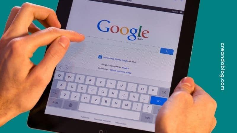 Imagen buscador Google en una tablet