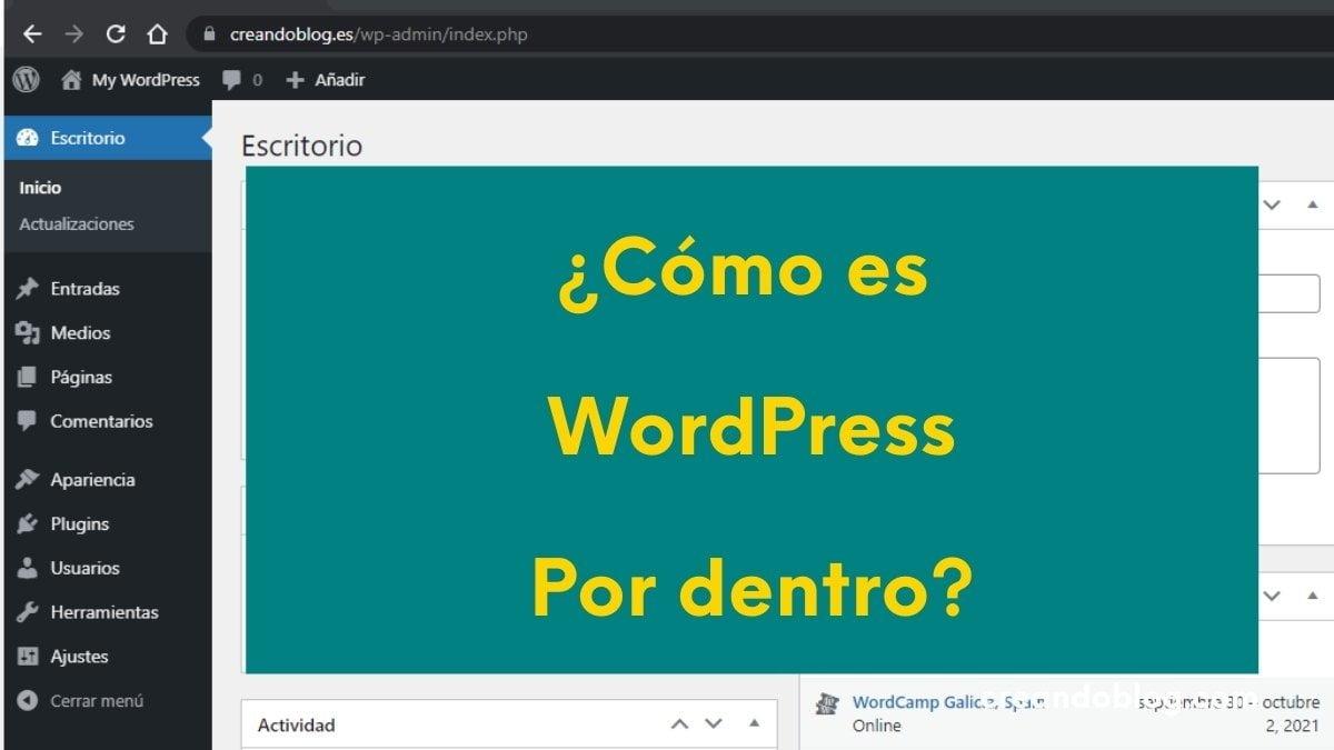 Imagen del escritorio de WordPress con la pregunta: ¿Cómo es WordPress por dentro?