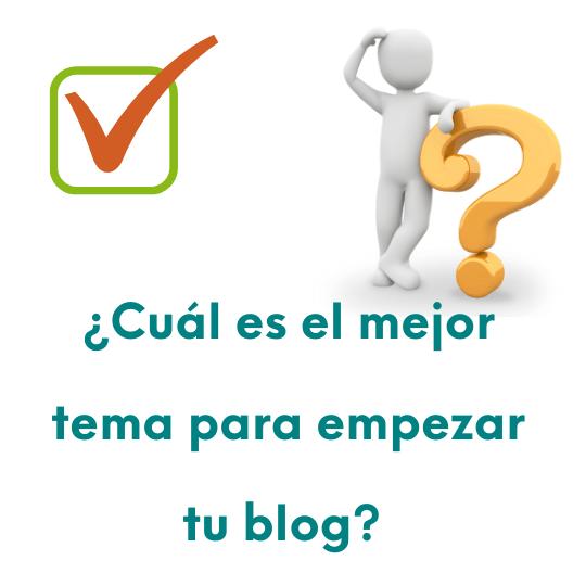 Imagen cuadrada con la pregunta: ¿Cuál es el mejor tema para empezar un blog?
