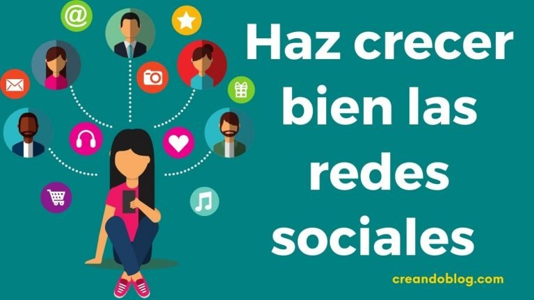 Imagen con iconos de redes sociales y el texto: haz crecer bien las redes sociales